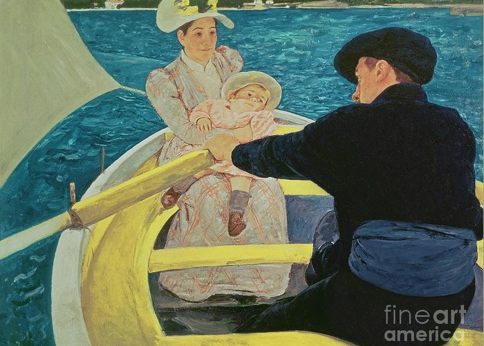 The Greeting Card featuring the painting The Boating Party by Mary Stevenson Cassatt