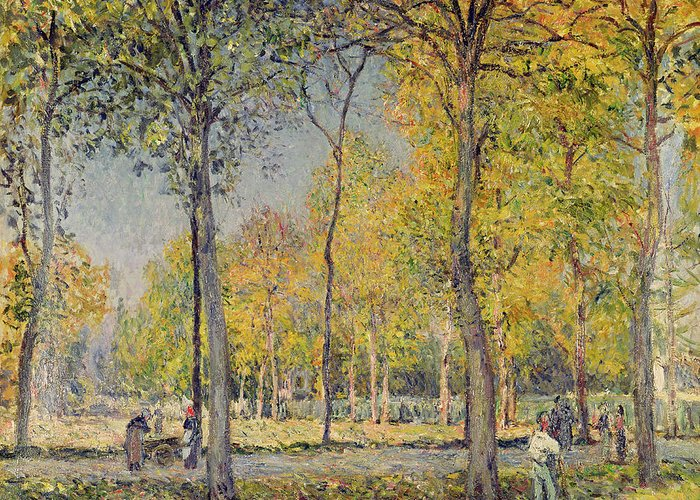 The Bois De Boulogne (oil On Canvas) By Alfred Sisley (1839-99) Greeting Card featuring the painting The Bois De Boulogne by Alfred Sisley