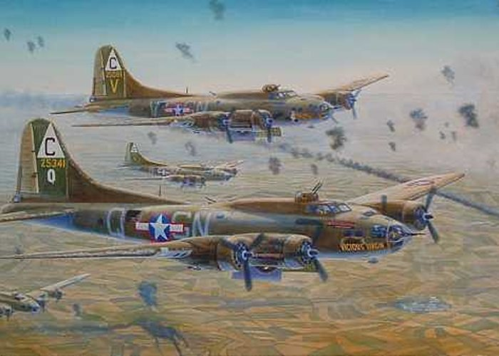 303rd Bomb Groups Vicious Virgin Greeting Card featuring the painting The Bomb Run Over Schwienfurt by Scott Robertson