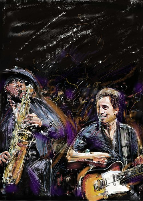 Bruce Springsteen Greeting Card featuring the mixed media The Boss And The Big Man by Russell Pierce