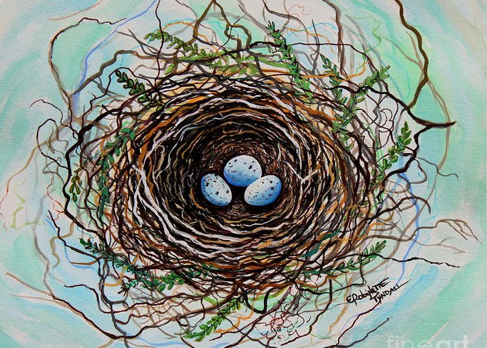 Bird Nest Greeting Card featuring the painting The Botanical Bird Nest by Elizabeth Robinette Tyndall