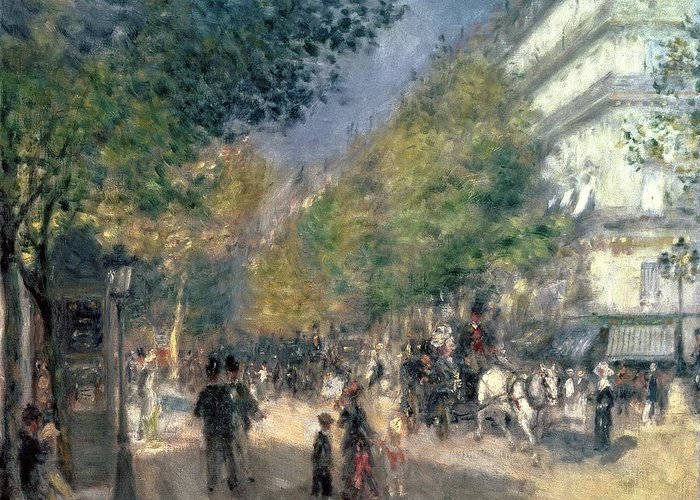 Impressionist; Paris; Haussmann; Street Scene; France; Crt Greeting Card featuring the painting The Boulevards by Pierre Auguste Renoir