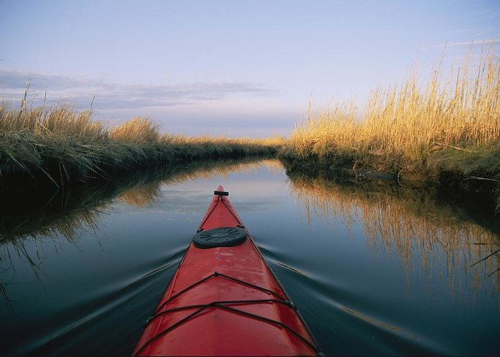 North America Greeting Card featuring the photograph The Bow Of A Kayak Points The Way by Skip Brown