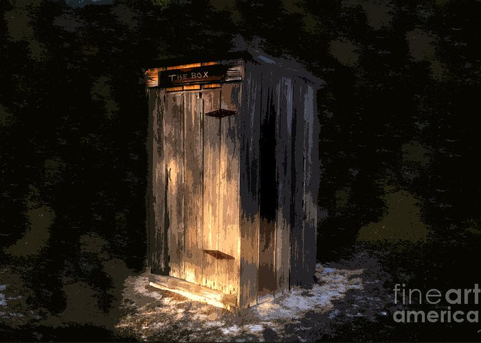 Outhouse Greeting Card featuring the painting The Box by David Lee Thompson