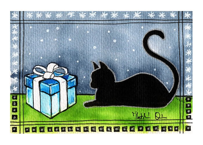 The Box Is Mine Greeting Card featuring the painting The Box Is Mine - Christmas Cat by Dora Hathazi Mendes