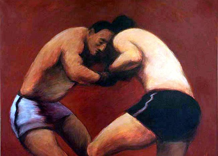 Boxers Greeting Card featuring the painting The Boxers by James LeGros