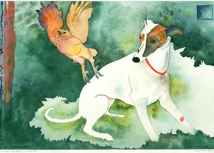 Watercolor Greeting Card featuring the painting The Break In The Forest by Eileen Hale