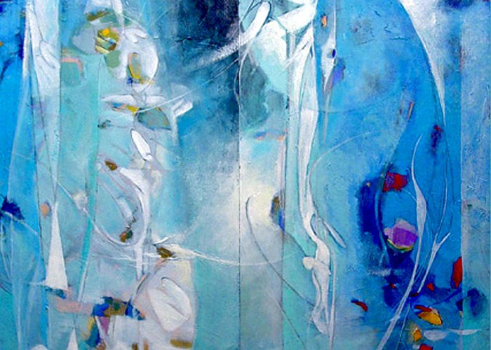 Abstract Greeting Card featuring the painting The Breath Between Us by Dale Witherow