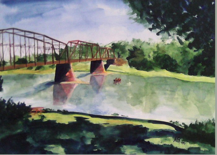 Bridge Greeting Card featuring the painting The Bridge At Ft. Benton by Andrew Gillette