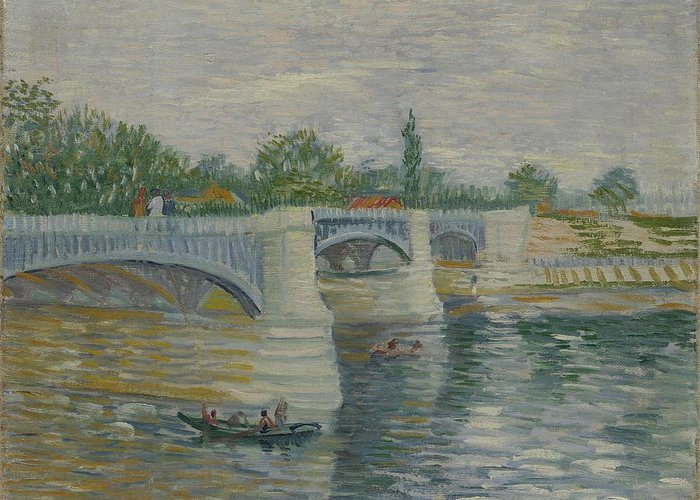 Nature Greeting Card featuring the painting The Bridge At Courbevoie Paris, May - July 1887 Vincent Van Gogh 1853 1890 by Artistic Panda