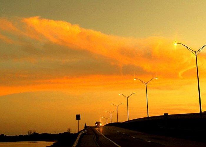 Sunset Greeting Card featuring the photograph The Bridge At Sunset by Ian MacDonald
