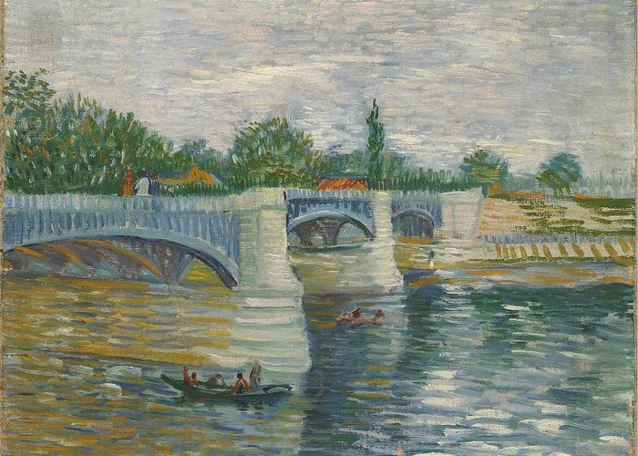 Nature Greeting Card featuring the painting The Bridge Of Courbevoie, Paris by Artistic Panda