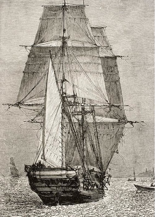 Black And White Greeting Card featuring the drawing The Brig Hms Beagle From Journal Of by Vintage Design Pics