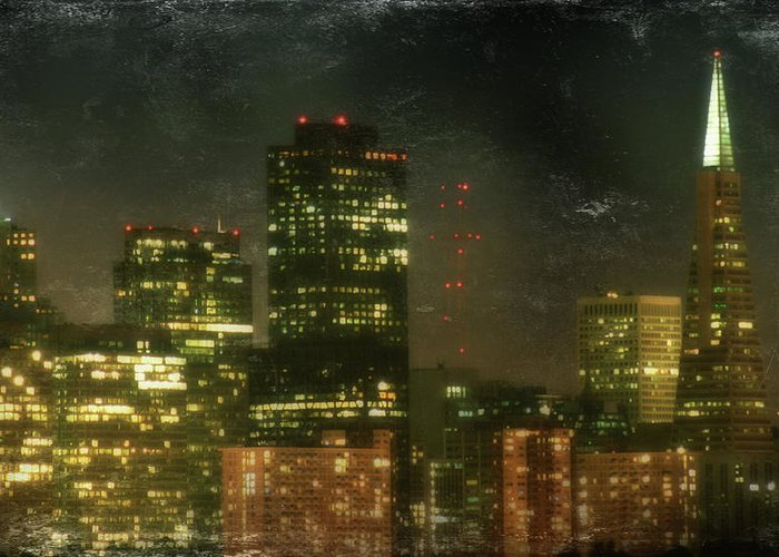 City Skyline Greeting Card featuring the photograph The Bright City Lights by Laurie Search