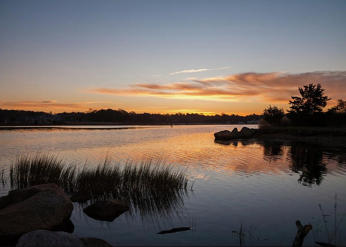 Pawcatuck River Greeting Card featuring the photograph The Brink - Pawcatuck River Sunrise by Kirkodd Photography Of New England