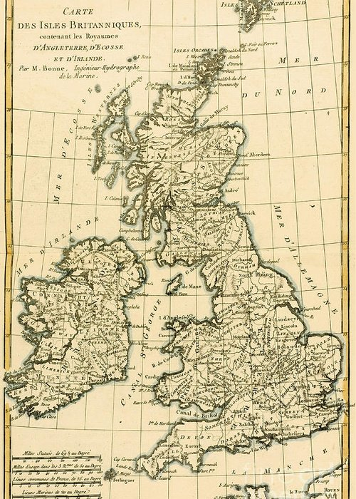 Maps Greeting Card featuring the drawing The British Isles by Guillaume Raynal