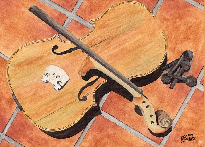 Violin Greeting Card featuring the painting The Broken Violin by Ken Powers
