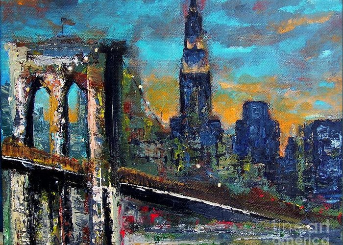 Bridges Greeting Card featuring the painting The Brooklyn Bridge by Frances Marino