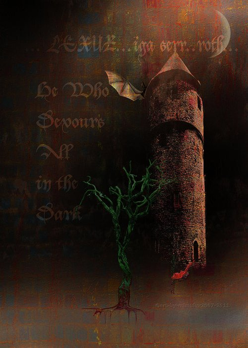 Lovecraft Greeting Card featuring the digital art The Brown Tower by Mimulux patricia No