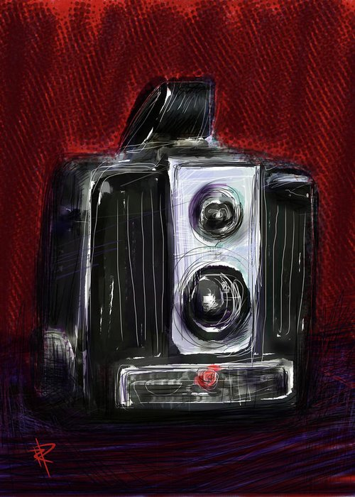 Brownie Camera Greeting Card featuring the mixed media The Brownie by Russell Pierce