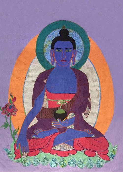 God Greeting Card featuring the tapestry - textile The Buddha Of Medicine by Sonja Yunda