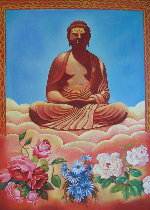 People Greeting Card featuring the painting The Budha by Hiske Tas Bain