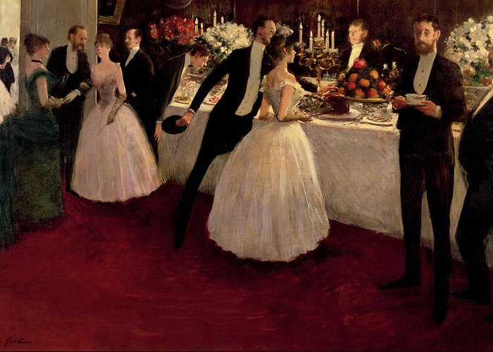 The Buffet Greeting Card featuring the painting The Buffet by Jean Louis Forain