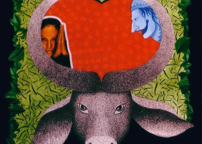 Bull Greeting Card featuring the painting tHE BULL by Bharat Gothwal