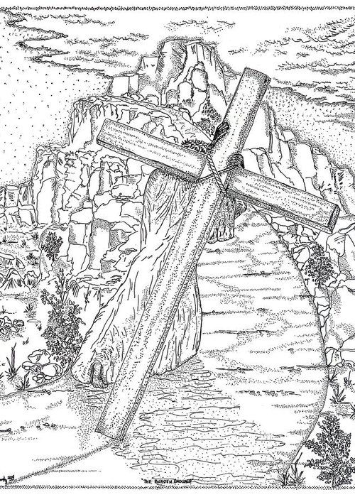 Jesus Christ Greeting Card featuring the drawing The Burden Endured by Glenn McCarthy Art and Photography