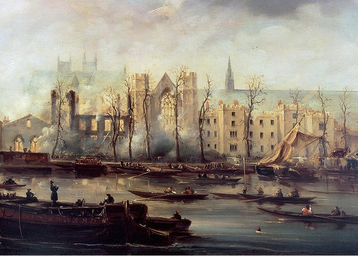 The Greeting Card featuring the painting The Burning Of The Houses Of Parliament by The Burning of the Houses of Parliament