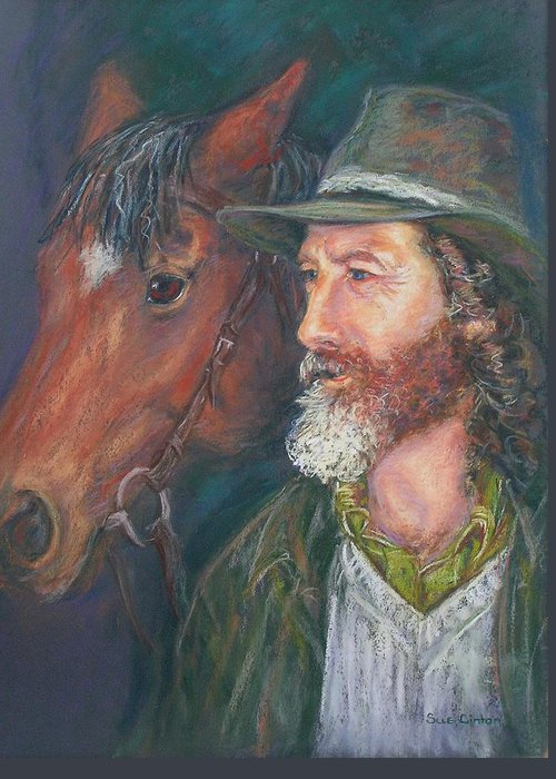 Horse & Rider Greeting Card featuring the painting The Bushman by Sue Linton