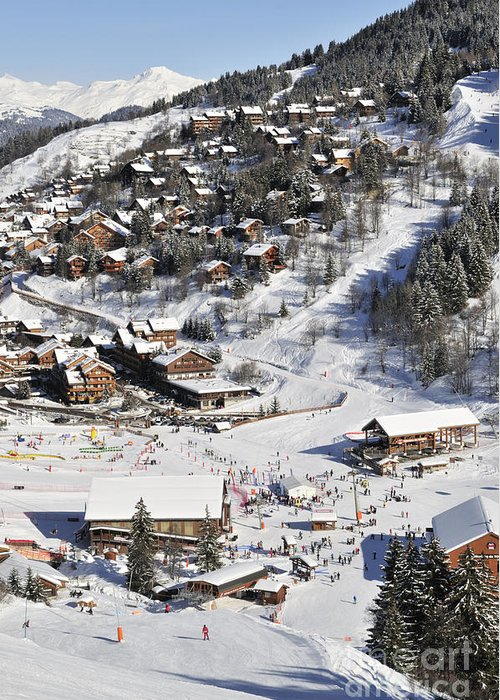 Meribel Greeting Card featuring the photograph The Busy Chaudanne In Meribel The Heart Of Meribel In The Three Valleys Resort France by Andy Smy