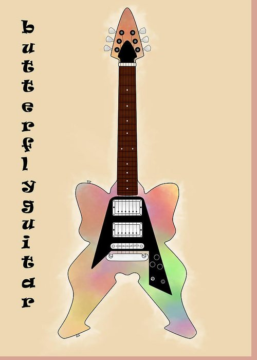 Butterfly Greeting Card featuring the digital art The Butterfly Guitar by Khajohnpan Sauychalad