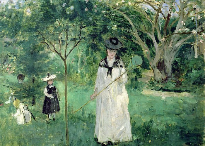 The Greeting Card featuring the painting The Butterfly Hunt by Berthe Morisot