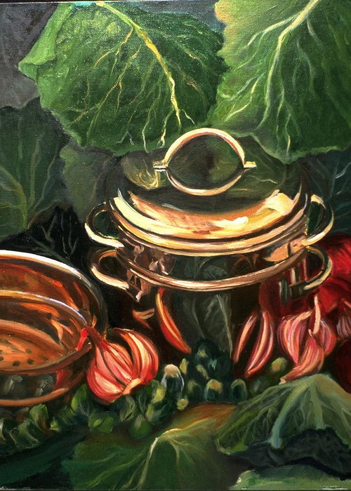 Still Life Greeting Card featuring the painting The Cabbage Pot by Patricia Reed