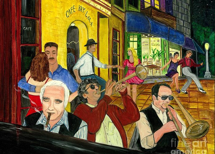 Music Greeting Card featuring the painting The Cafe by Gail Finn