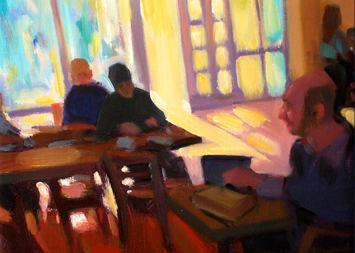 Cafe Greeting Card featuring the painting The Cafe by Merle Keller