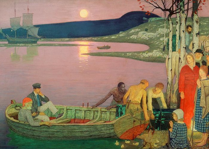 The Greeting Card featuring the painting The Call Of The Sea by Frederick Cayley Robinson