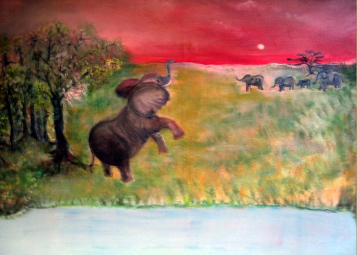 Wildlife Greeting Card featuring the painting The Calling - Elephants On The Serengeti by Michela Akers