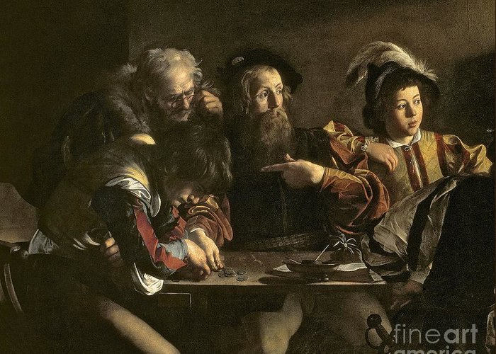 Chiaroscuro; Baroque; Interior; Table; Tax Collector; Saint; Apostle; Disciple; Pointing Greeting Card featuring the painting The Calling Of St. Matthew by Michelangelo Merisi da Caravaggio