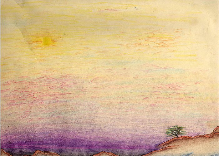Landscape Greeting Card featuring the drawing The Calm Waters Of Shallow Comfort by Nathaniel Hoffman