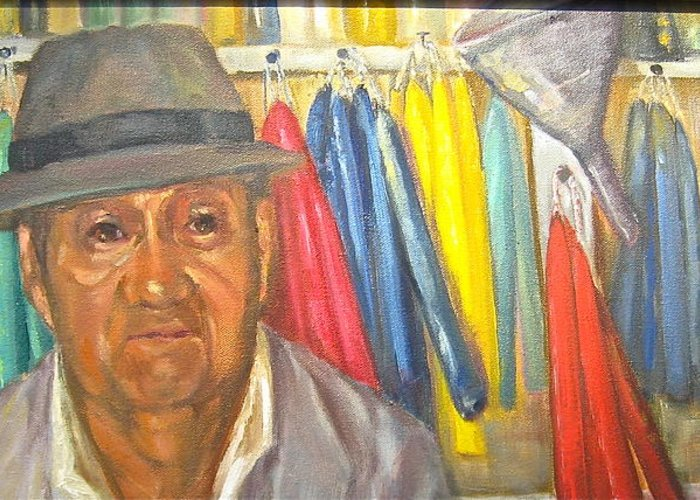 Man Greeting Card featuring the painting The Candle Maker by Catherine Lawhon