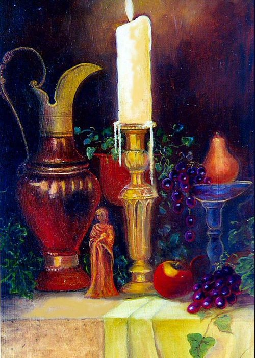Still Life Greeting Card featuring the painting The Candlestick And Pitcher by Jeanene Stein