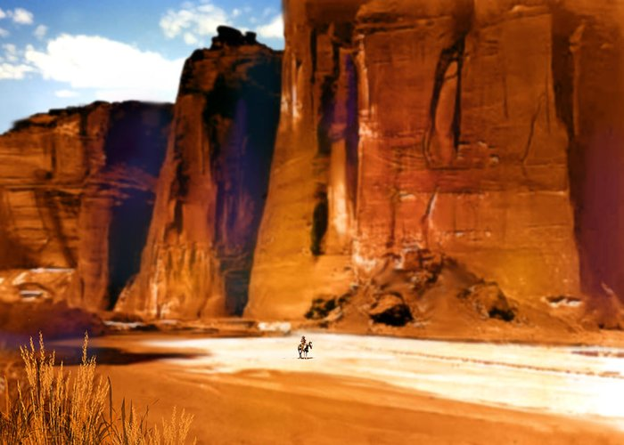 Native Americans Greeting Card featuring the painting The Canyon by Paul Sachtleben