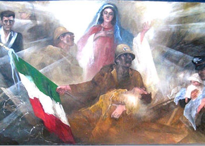 Carabinieri - Historical Greeting Card featuring the painting The Carabinieri History 1814 2008 by Elisabeth Nussy Denzler von Botha