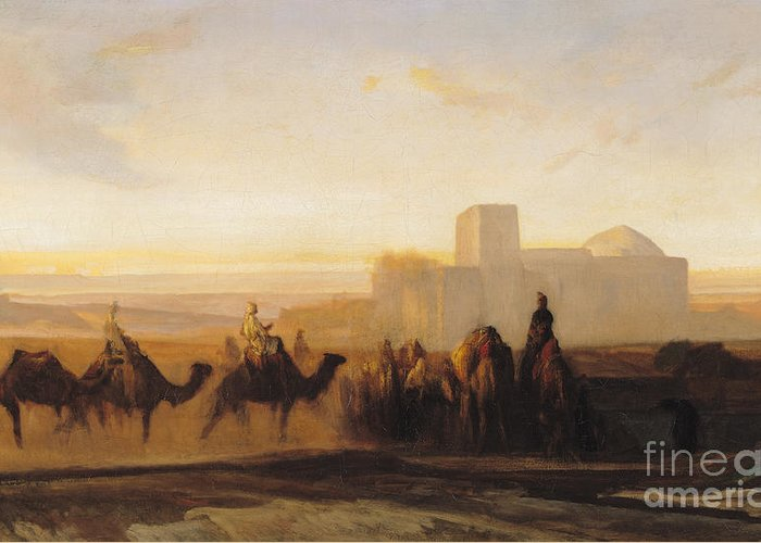 The Greeting Card featuring the painting The Caravan by Alexandre Gabriel Decamps