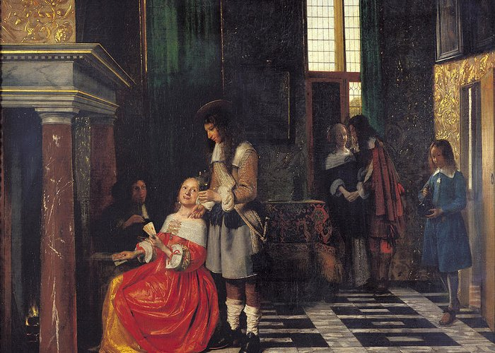 The Greeting Card featuring the painting The Card Players by Pieter de Hooch