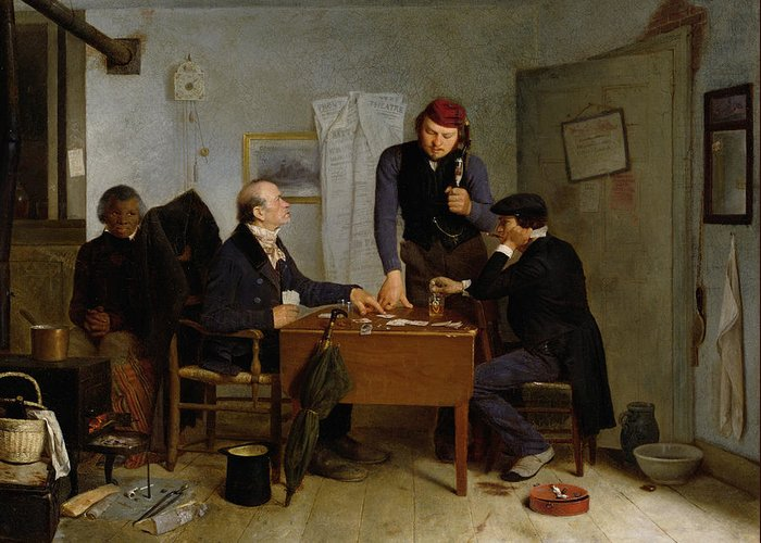 The Greeting Card featuring the painting The Card Players by Richard Caton Woodville