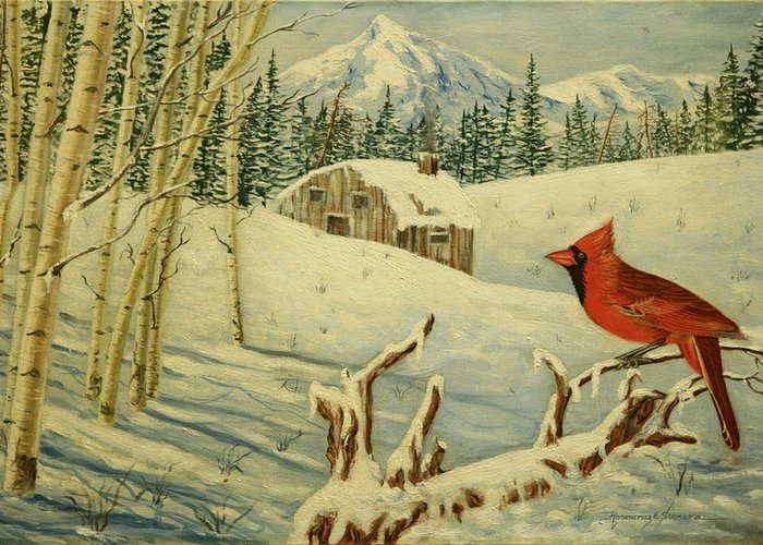 Cardinal Greeting Card featuring the painting The Cardinal by Rosencruz Sumera