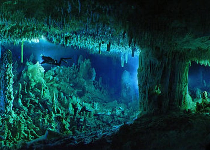 Underwater Greeting Card featuring the photograph The Cascade Room Leads Divers Deeper by Wes C. Skiles